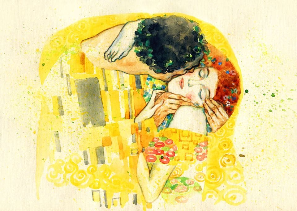 The,kiss.,illustration.,watercolor,painting