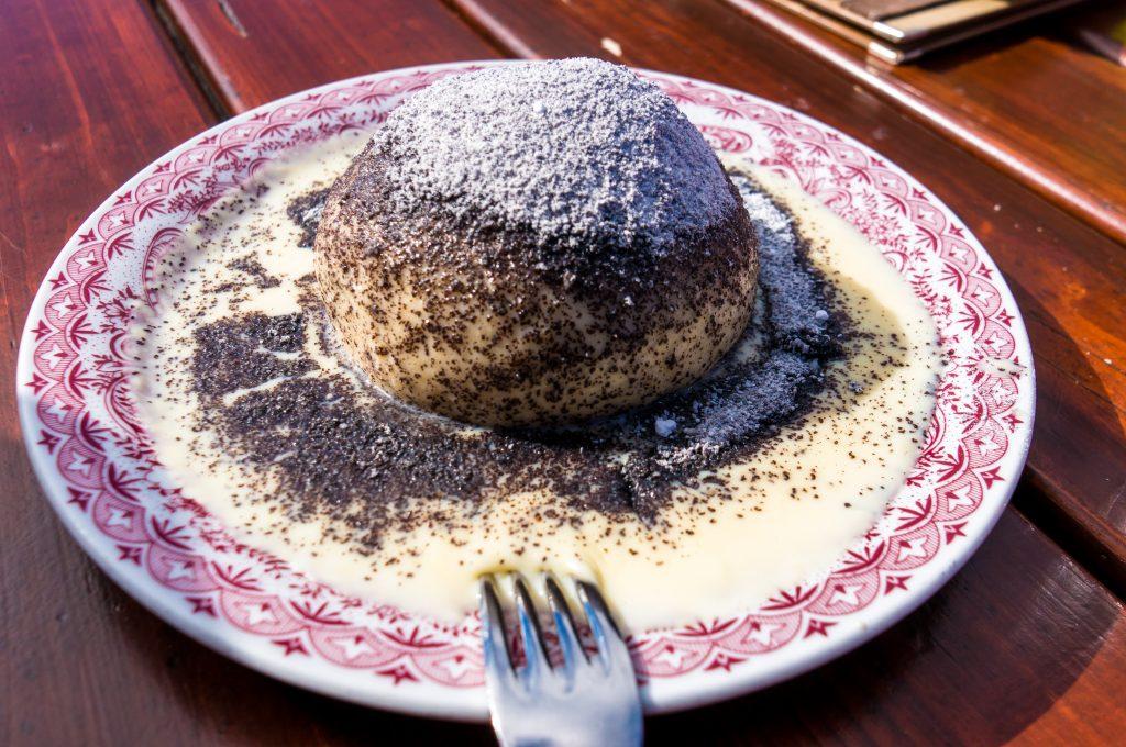 Germknödel, ,typical,austrian,dumpling,filled,with,plum,jam,,served