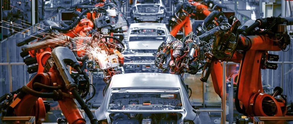 The,welding,arm,on,the,automobile,production,line,is,being