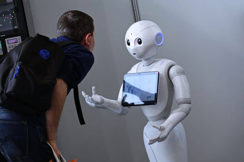 """Turin,,italy, ,april,2018:,""""pepper"""",robot,assistant,with,information"""