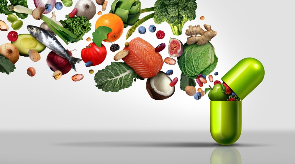 Nutritional,supplement,and,vitamin,supplements,as,a,capsule,with,fruit
