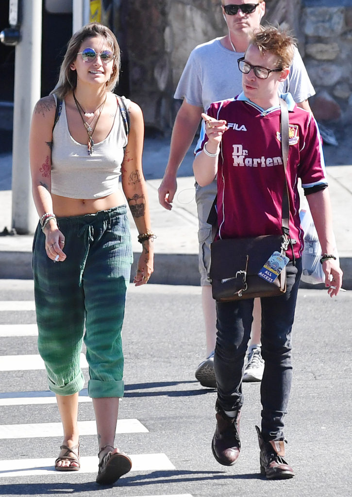 Exclusive: **no Web Until 10pm Pst July 30th 2017** Paris Jackson And Godfather Macaulay Culkin Get Matching Tattoos At Hollywood Ink Shop