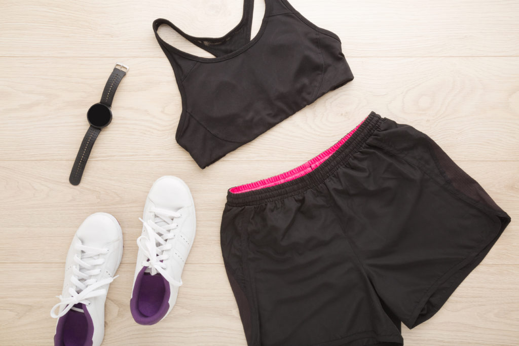 Female,training,accessories,for,running,or,fitness.,black,bra,,shorts,