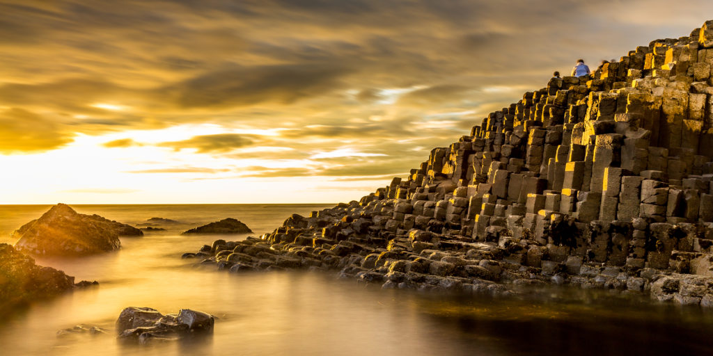 View,of,the,giant's,causeway,in,northern,ireland,at,sunset