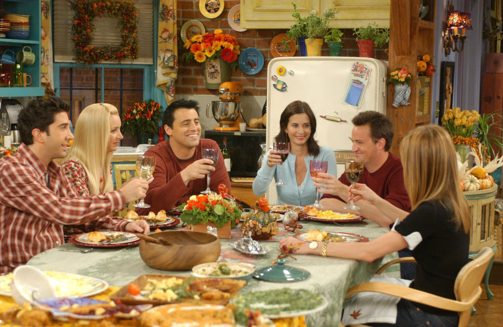 Courteney Cox , Matthew Perry , Lisa Kudrow , Jennifer Aniston , Matt Leblanc And David Schwimmer In Friends Tv (1994).