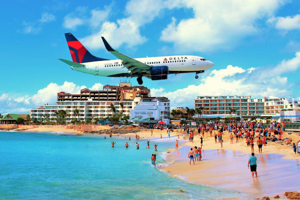 Maho,beach,,sint,maarten,,caribbean, ,february,27th,2018:,a