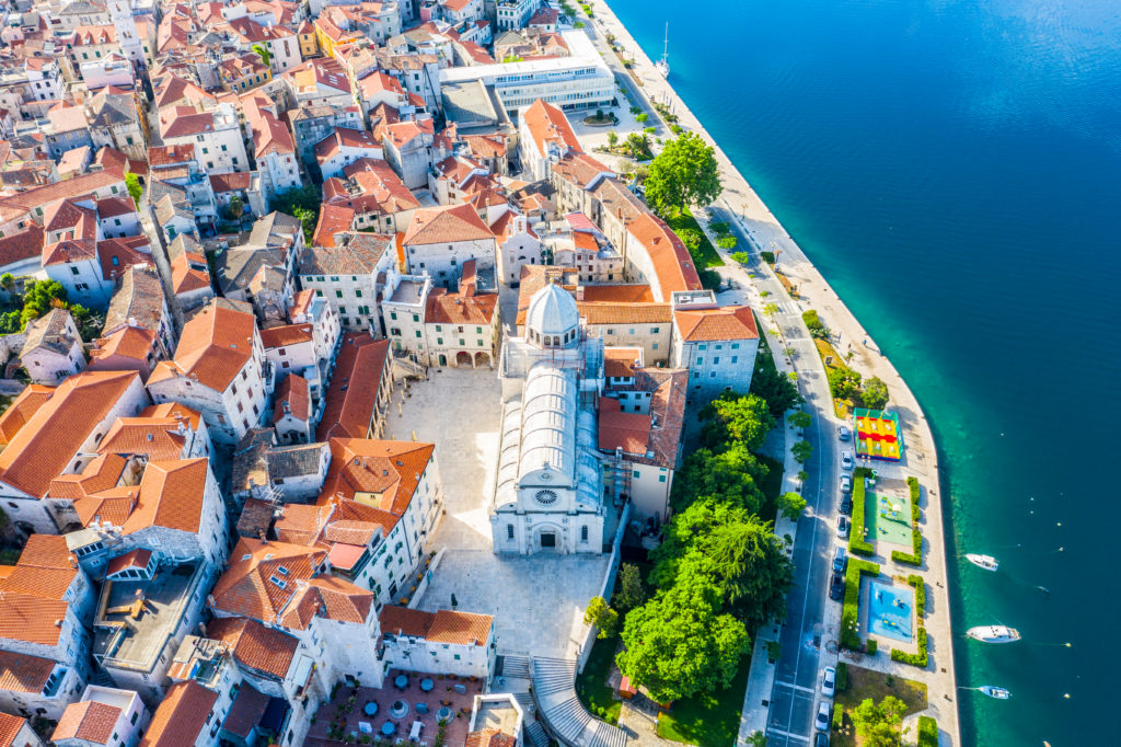 Aerial,view,of,the,city,of,sibenik,in,the,summer