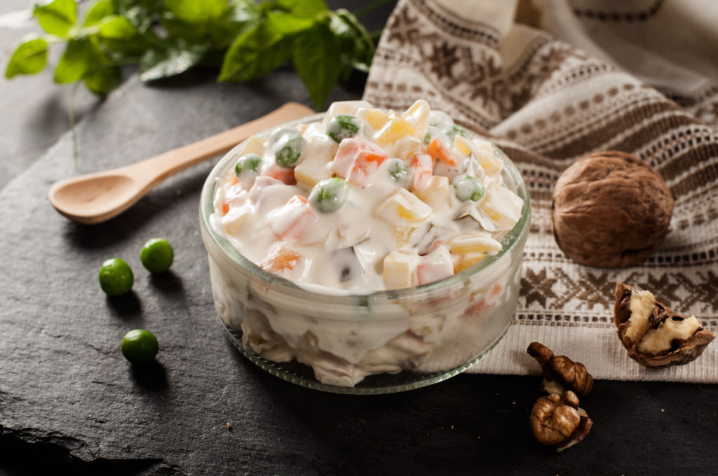 Russian,traditional,salad,with,decoration