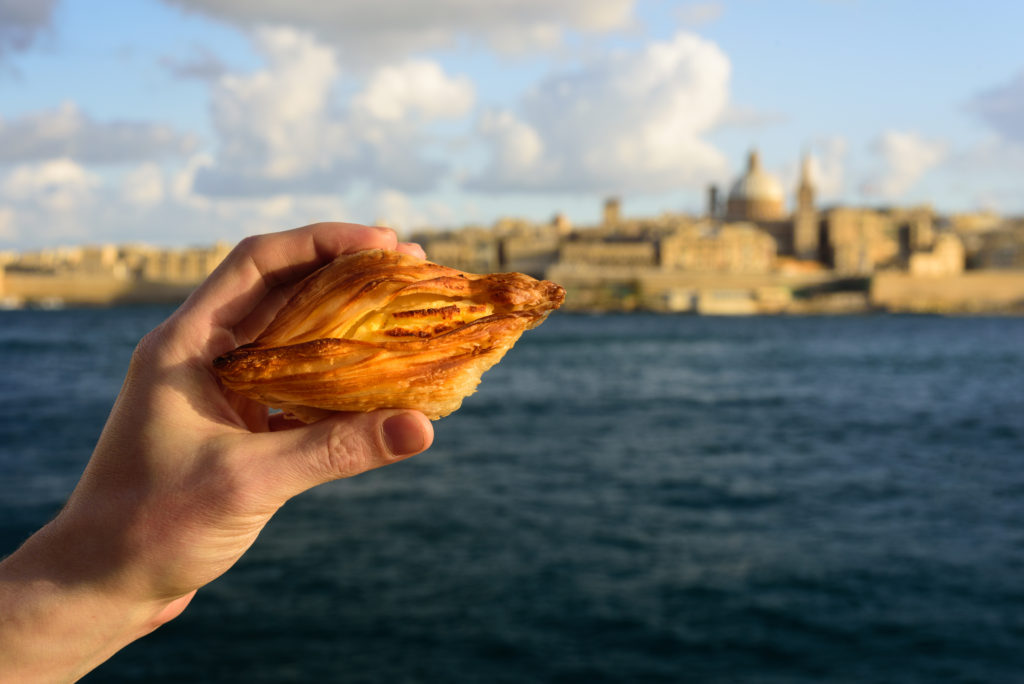 Traditional,savoury,pastry,pastizzi,from,malta,with,ricotta,filling.,valletta