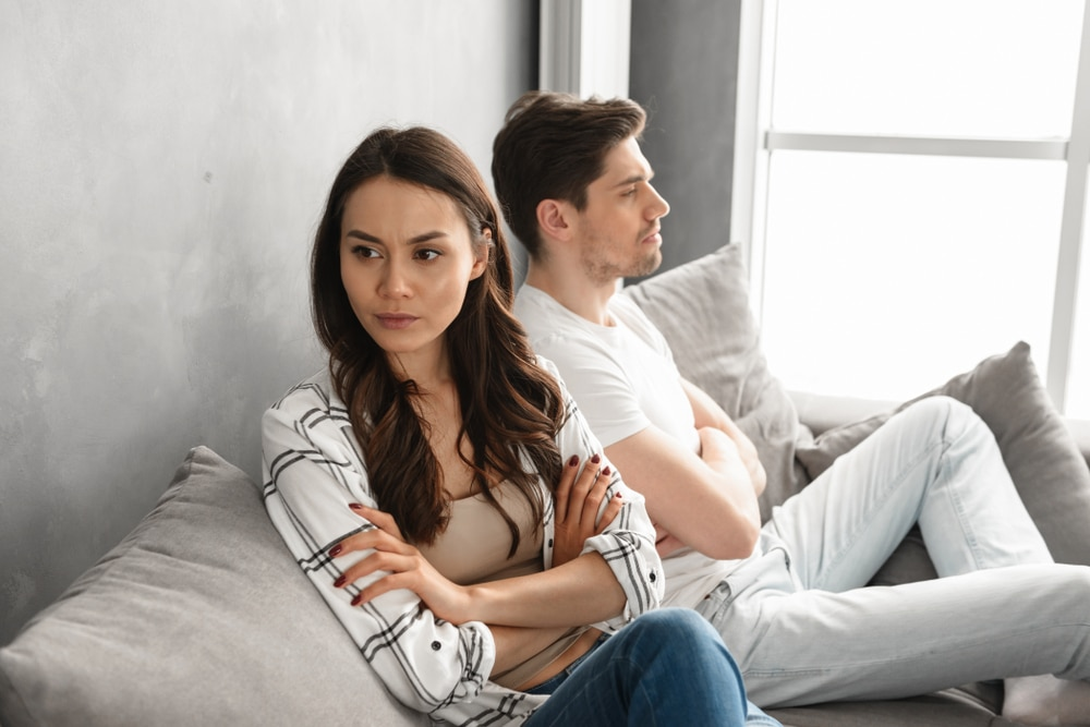 Photo,of,resentful,guy,and,girl,acting,like,arguing,couple