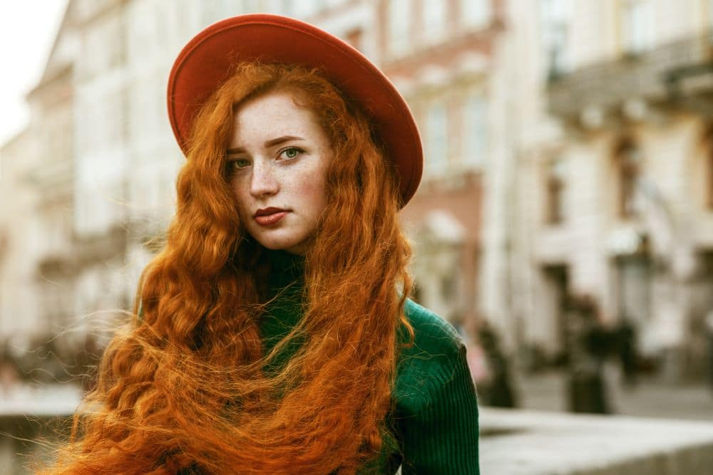 Close,up,portrait,of,young,beautiful,fashionable,redhead,woman,with