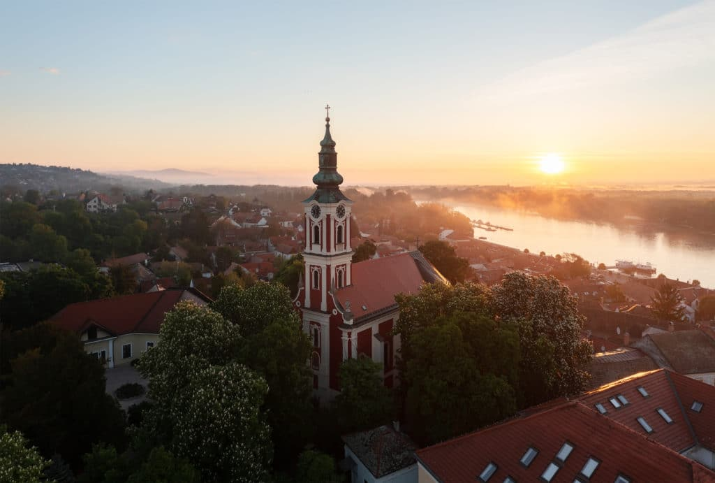 Belgrade,serbian,orthodox,church,in,szentendre,hungary.,amazing,aerial,view