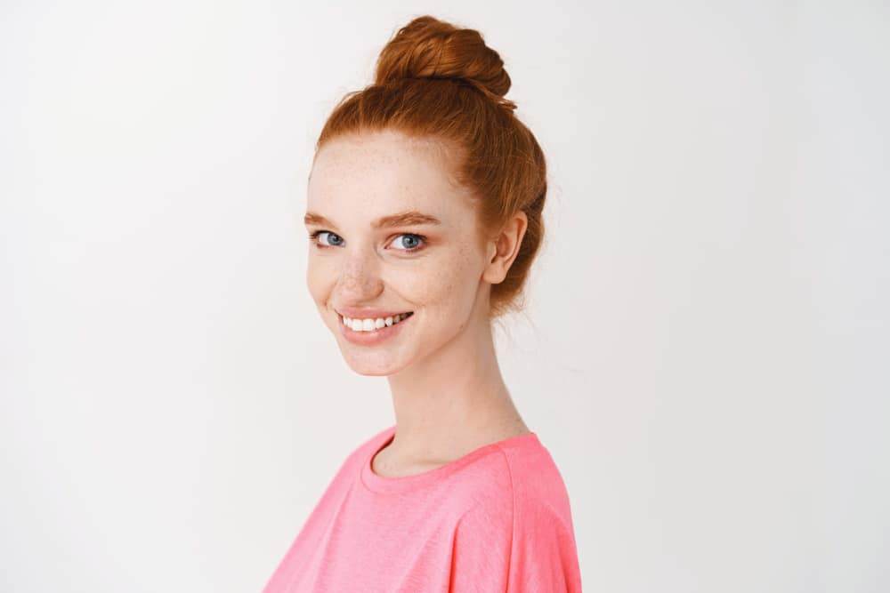 Skincare,and,makeup,concept.,close Up,of,pretty,redhead,woman,with