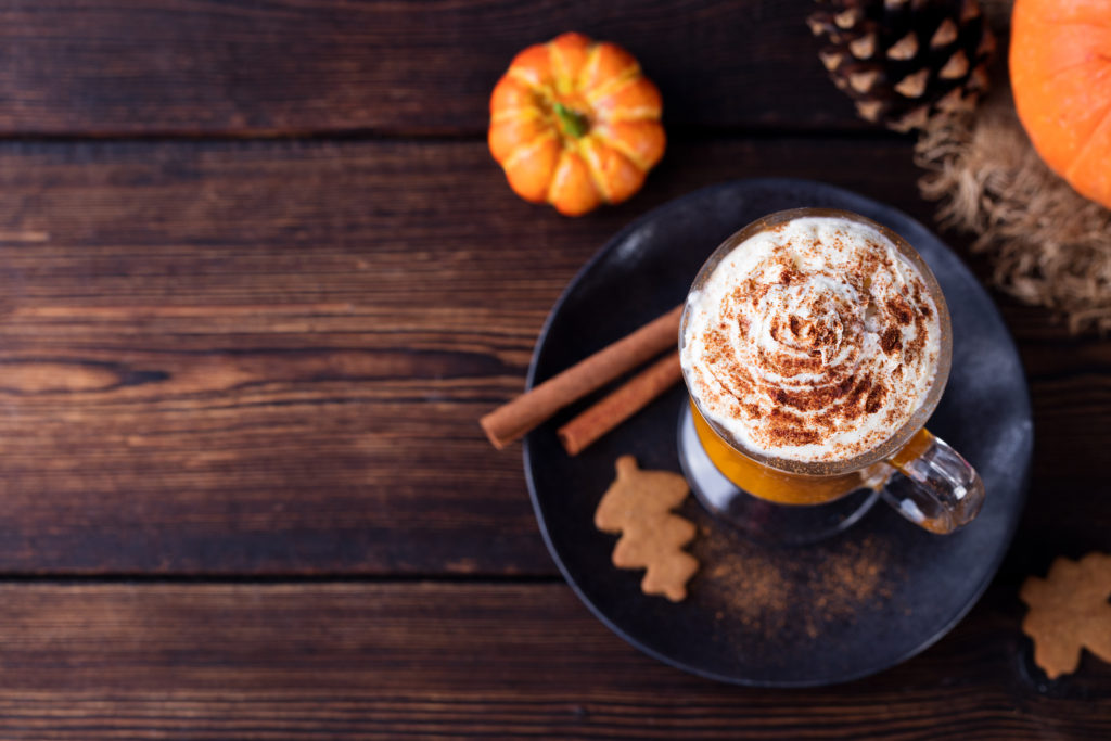 Pumpkin,smoothie,,spice,latte.,boozy,cocktail,with,whipped,cream,on