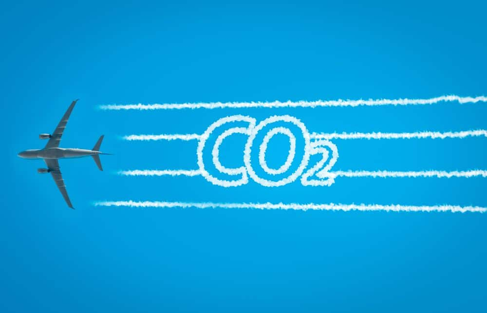 Airplane,leaving,jet,contrails,with,co2,word,inside.,suitable,for