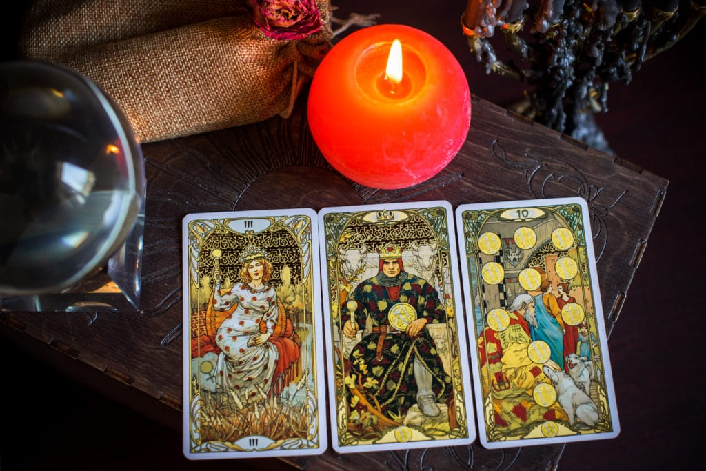 Cartomancy.,a,fortune,teller,,tarot,cards.,on,the,table,are