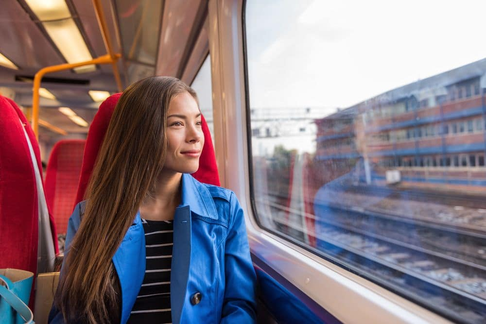 Train,woman,leaving,for,work,in,morning,commute,commuting,to