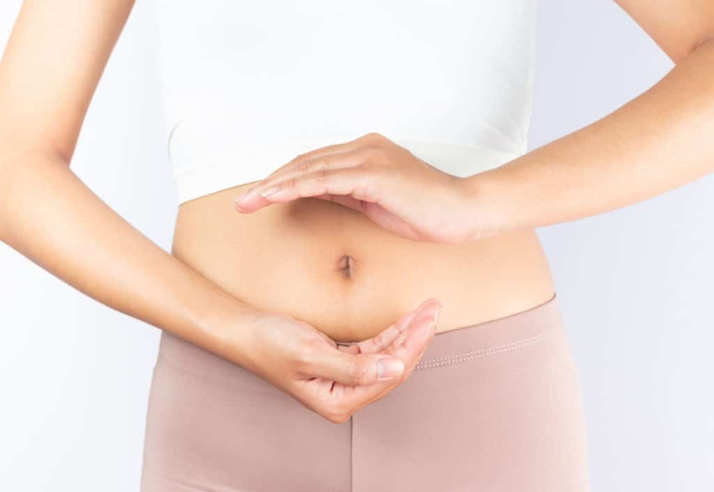 Stomach,bowel,good,digestion,food,woman's,medical,health,on,white