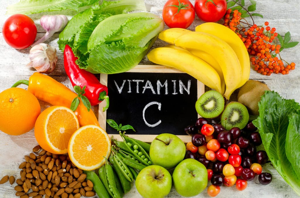 Foods,high,in,vitamin,c,on,a,wooden,board.,healthy