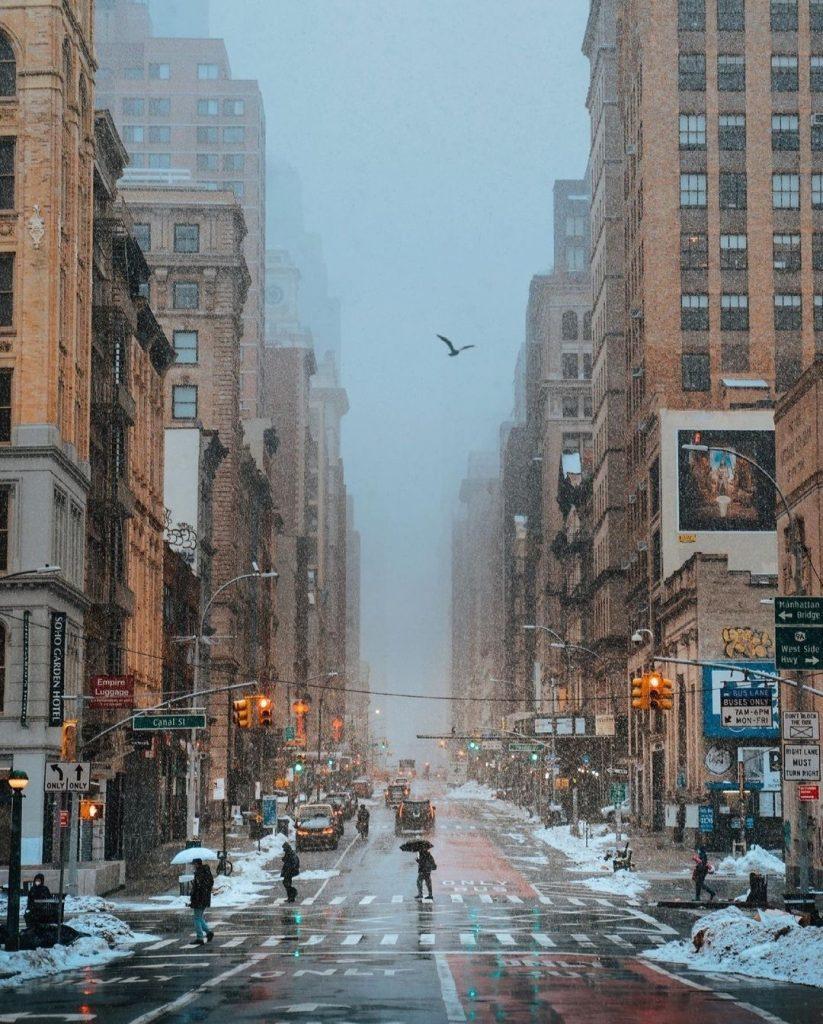 New York télen – hangulatkép Manhattanből