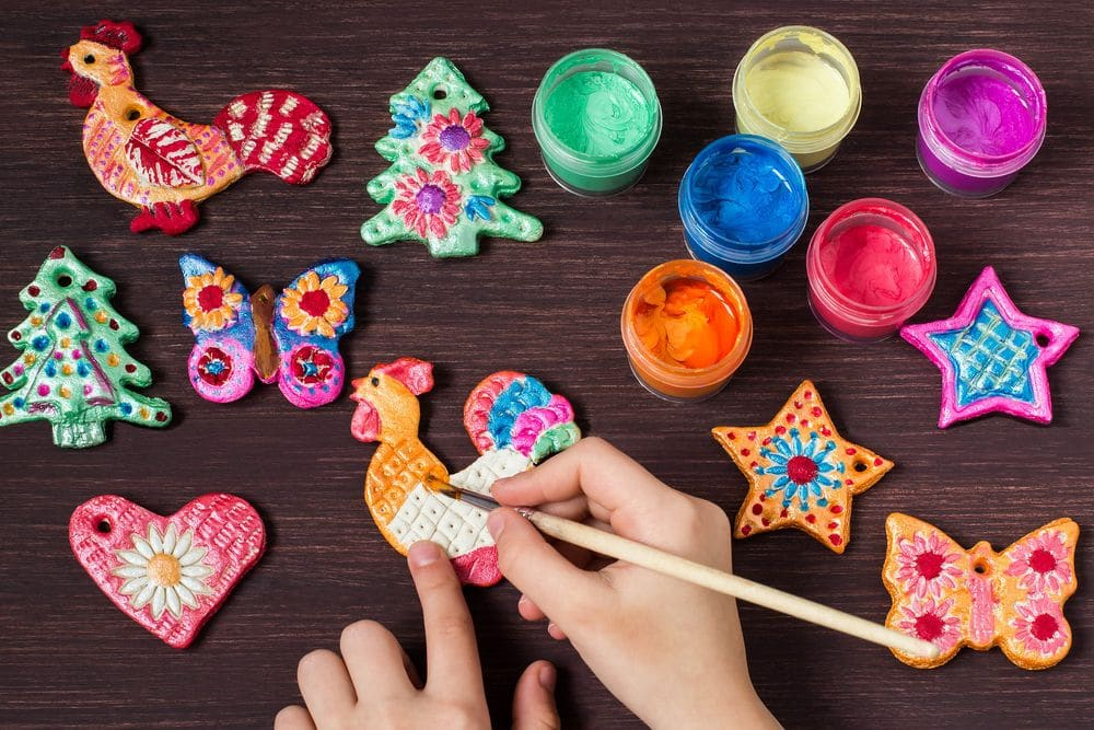Making,toys,for,christmas,decorations,from,salt,dough,with,your